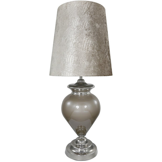 "Taupe Pearl Regency Lamp with 19"" Taupe Crocodile Shade (48 x 108cm)"
