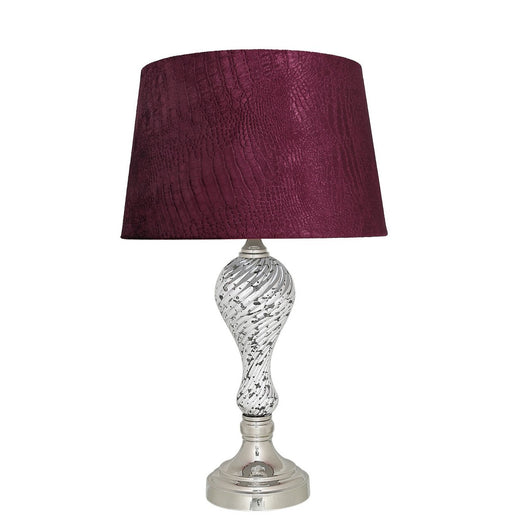 "Silver Mercury Table Lamp with 13"" Red Crocodile Shade (33 x 53cm)"