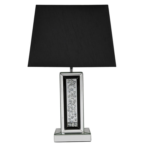 "Black Mirrored Savoy Table Lamp with 17"" Black Shade (43 x 25 x 69cm)"
