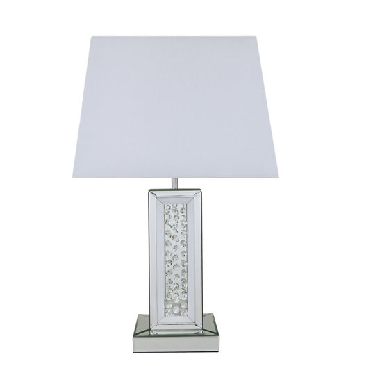 "White Mirrored Savoy Table Lamp with 17"" White Shade (43 x 25 x 69cm)"