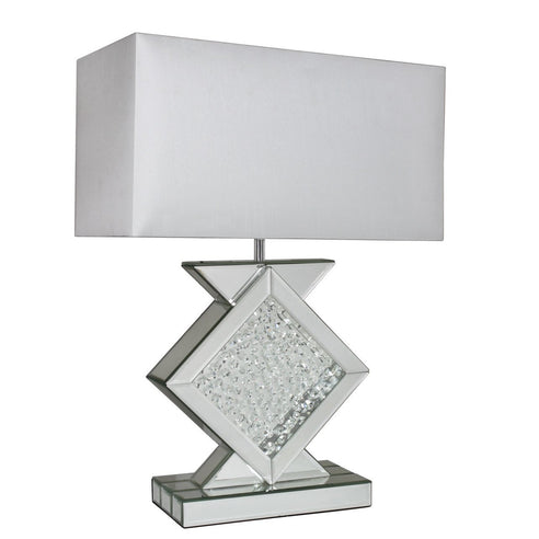 "Mirrored Savoy Table Lamp with 20"" White Shade (51 x 25 x 68.5cm)"
