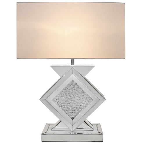 "White Mirrored Savoy Table Lamp with 20"" White Shade (51 x 25 x 68.5cm)"