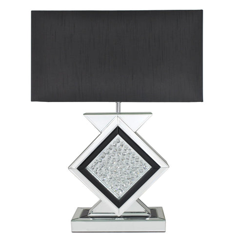 "Black Mirrored Savoy Table Lamp with 22"" Black Shade (56 x 28 x 78.5cm)"