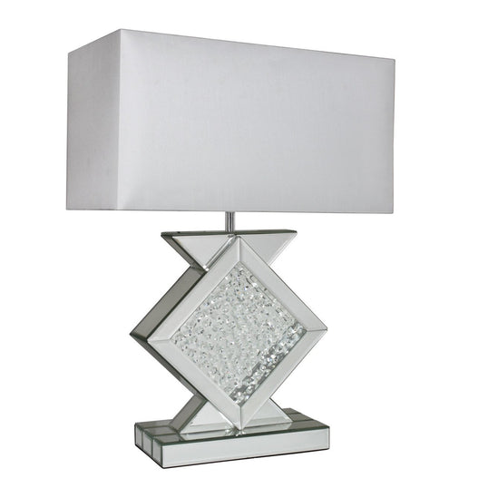"Mirrored Savoy Table Lamp with 22"" White Shade (56 x 28 x 78.5cm)"