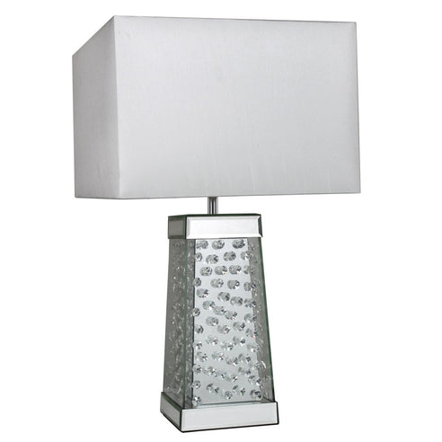 "Mirrored Savoy Cone Table Lamp with 14"" White Shade (35.5 x 35.5 x 60cm)"