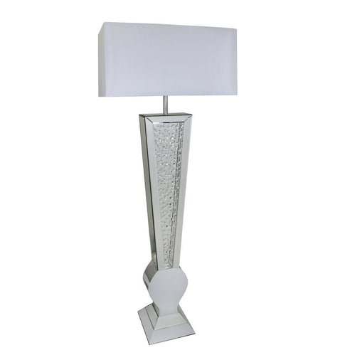 "Mirrored Savoy 'V' Floor Lamp with 23"" White Shade (60 x 30 x 152cm)"