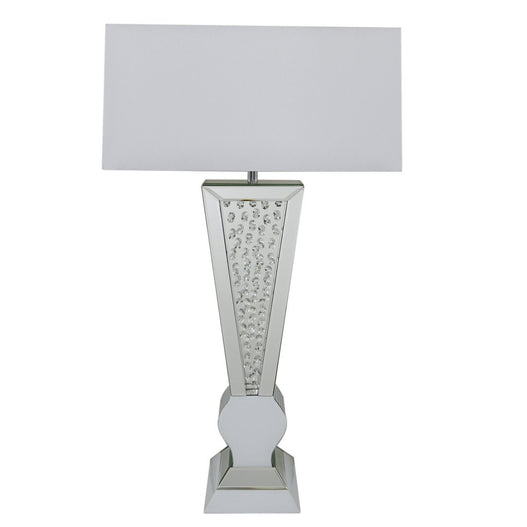 White Mirrored Savoy Floating Crystal Table Lamp (55 x 25 x 93cm)