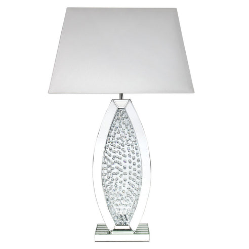 "Mirrored Savoy Oval Table Lamp with 22"" White Shade (56 x 34 x 98cm)"
