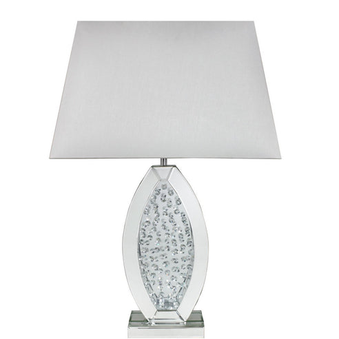 "Mirrored Savoy Oval Table Lamp with 20"" White Shade (50.5 x 30.5 x 76cm)"