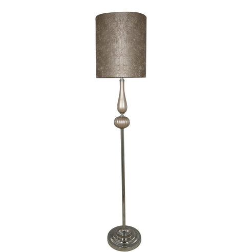 "Taupe Pearl/Chrome Floor Lamp with 13"" Taupe Crocodile Shade (33 x 163cm)"