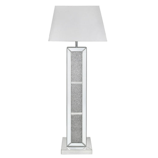 "Turin Silver Mirrored Brick Floor Lamp with 22"" White Shade (56 x 34 x 155cm)"