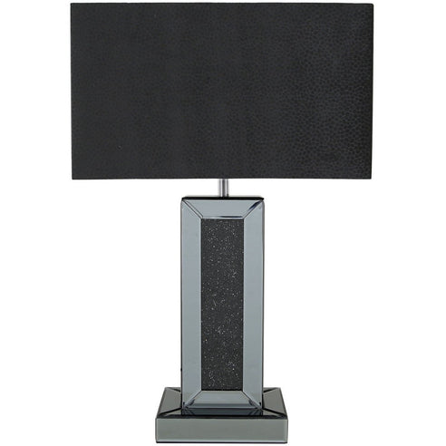"Turin Smoked Black Mirrored Table Lamp with 17"" Black Shade (41 x 21.5 x 63.5cm)"