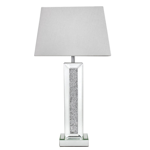 "Turin Silver Mirrored Pillar Lamp with 13"" White Shade (33 x 21.5 x 64cm)"