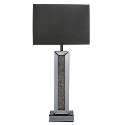 "Turin Smoked Copper Mirrored Table Lamp with 12"" Black Shade (30.5 x 17.7 x 63cm)"