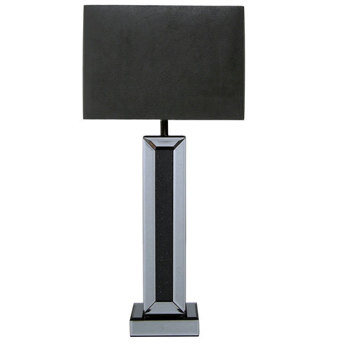 "Turin Smoked Black Mirrored Table Lamp with 12"" Black Shade (30.5 x 17.7 x 63cm)"