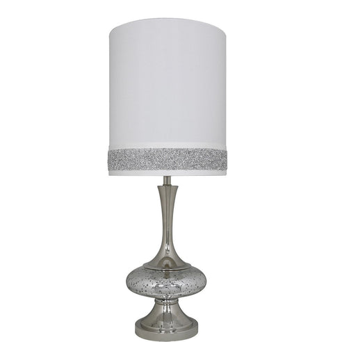 "Turin  Silver Mercury Disc Table Lamp with 10"" White/Silver Shade (25 x 64.5cm)"