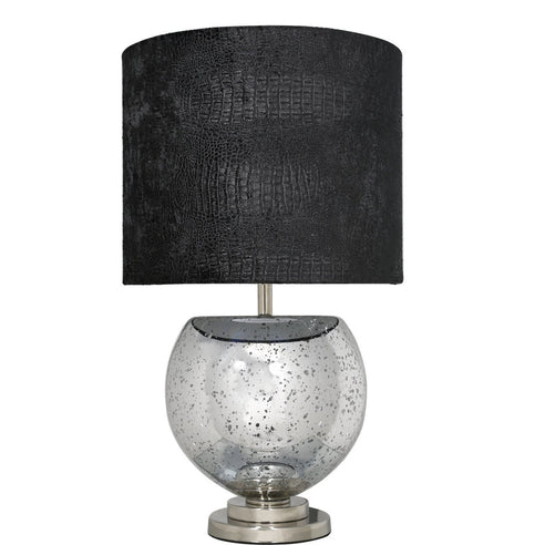 "Silver Mercury Bowl Table Lamp with 16"" Black Crocodile Shade (40.5 x 70cm)"