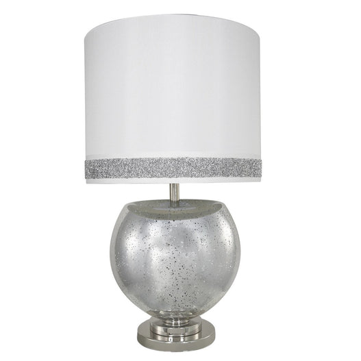"Turin  Silver Mercury Bowl Table Lamp with 16"" White/Silver Shade (40.5 x 70cm)"