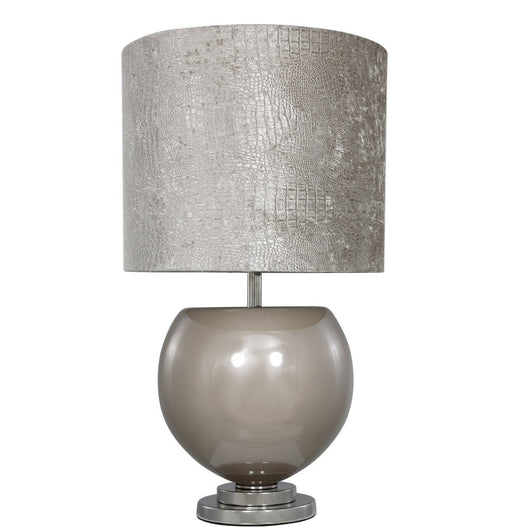 "Taupe Bowl Table Lamp with 16"" Taupe Crocodile Shade (40.5 x 70cm)"
