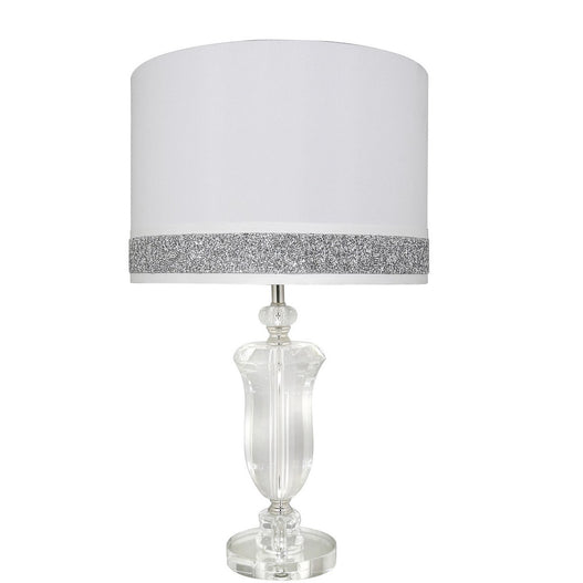 "Turin Crystal/Silver Glass Lamp with 15"" inch White/Silver Shade (38 x 63.5cm)"