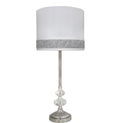 "Turin Crystal/Chrome Table Lamp with 10"" inch White/Silver Shade (25 x 58cm)"