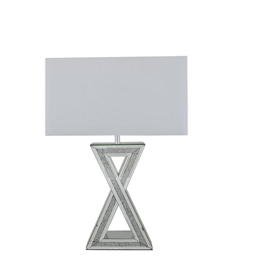 "Turin Silver Mirrored 'X' Table Lamp with 20"" White Shade (51 x 25 x 72cm)"