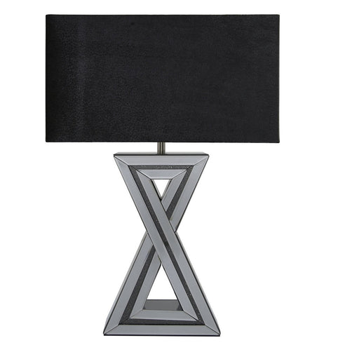 "Turin Smoked Black Mirrored 'X' Table Lamp with 20"" Black Shade (51 x 25 x 72cm)"