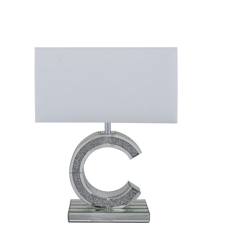 "Turin Silver Mirrored 'C' Table Lamp with 17"" White Shade (43 x 21.5 x 54cm)"