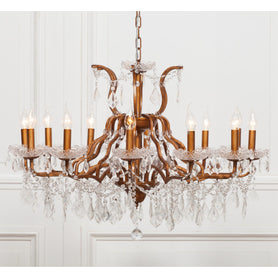 Shabby Chic 'Amelia' Shallow Antique Gold Chandelier - 12 Arms (Ceiling Light)