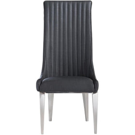 Saturn Dark Grey and Chrome Dining Chair x 6 (120 x 54 x 43cm)