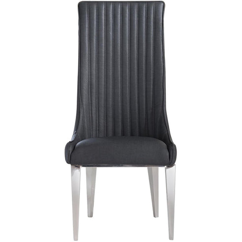 Saturn Dark Grey and Chrome Dining Chair x 4 (120 x 54 x 43cm)