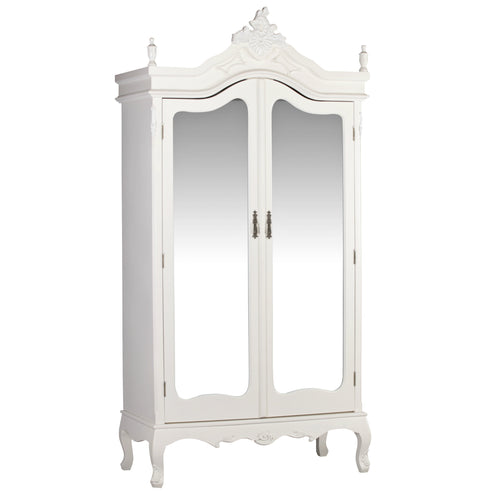 Antique White French Double Mirrored Armoire (2 doors, 110 x 50 x 215cm)
