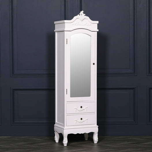 White Chateau French Rococo Mahogany Small Mirror Armoire.