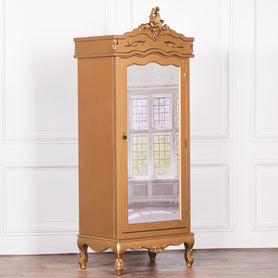 Antique Gold French Single Mirrored Armoire (1 Door, 75 x 52 x 195cm)