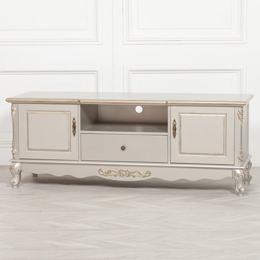 Antique Silver Gilt French Style TV / Media Unit (157 x 50 x 60cm)