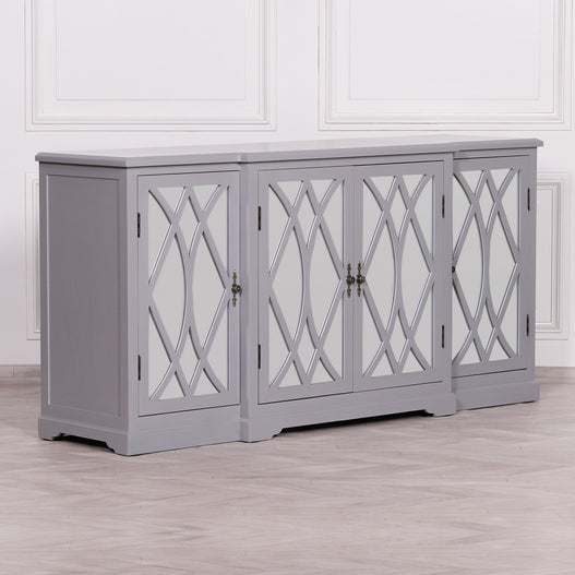 Empire Classical Grey Mirror Breakfront Sideboard