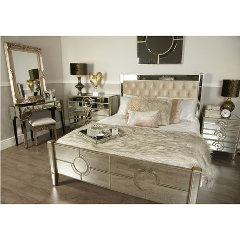 Berkeley Venetian Mirrored King Size Bed Frame (5') (158 x 215 x 135cm)