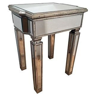 Venetian Glass Vintage Glam Mirrored Silver Side Table (48 x 40 x 60cm)