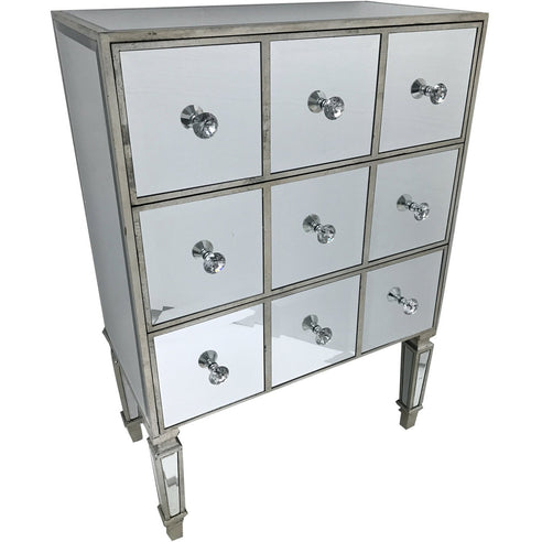 Venetian Glass Hollywood Mirrored Chest of Drawers (3 Drawers, 111 x 40 x 75cm)