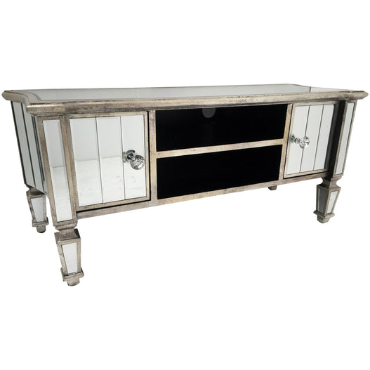 Venetian Glass 'Marbella' Mirrored Large TV Media Unit (119 x 46 x 51cm)
