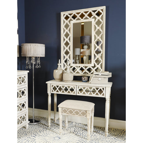 New Hampshire Washed Ash Dressing Table Mirror & Stool Set  (107 x 36 x 82cm)