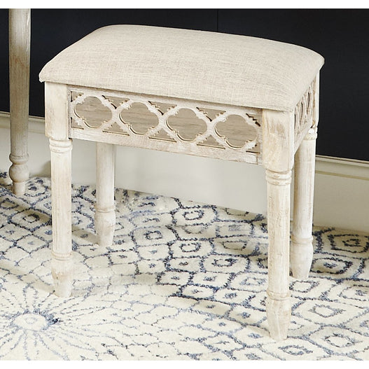 New Hampshire Washed Ash Mirrored Vanity Stool (51.5 x 36.5 x 54cm)