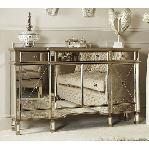 Venetian Glass Beaumont Mirrored Gold Large Sideboard Cabinet (152 x 35 x 91cm)