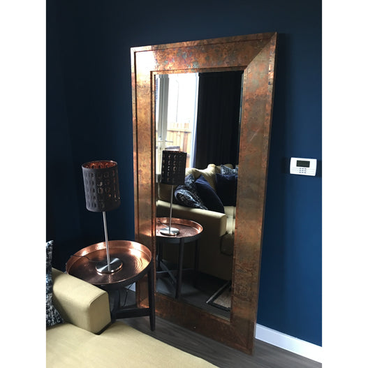 Copper Finish Distressed Patinated Leaner Floor Mirror (180 x 91cm)