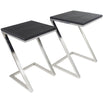 Black Faux Stingray Leather 'Z' Table - Set Of 2 (57 x 42 x 40cm)