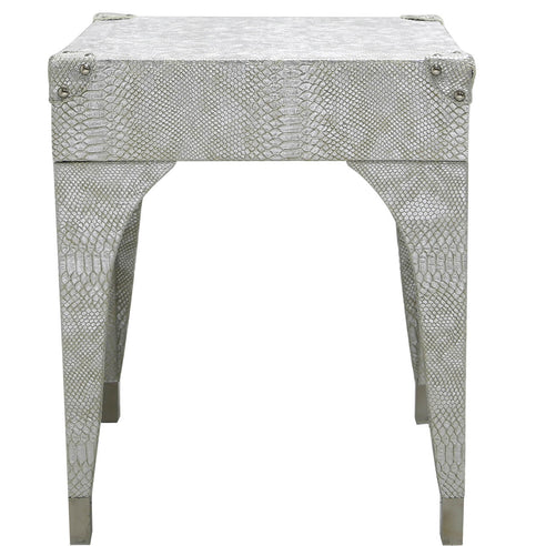 Silver Faux Snakeskin Leather Stool (50.5 x 41 x 41cm)