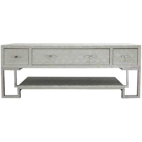Silver Faux Snakeskin 3 Drawer Entertainment Unit (57 x 45 x 150cm)