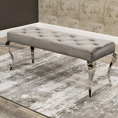 Vida Louis Grey Velvet Polished Steel Bench - 1700mm