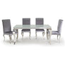 Vida Louis White Glass Polished Steel 160cm Dining Table with 4 Silver Grey Louis Chairs