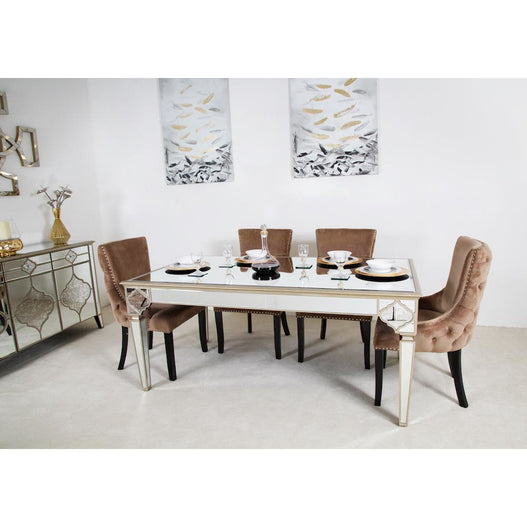 Casablanca Antique Venetian Dining Table With 4 Tufted Pink Dining Chairs
